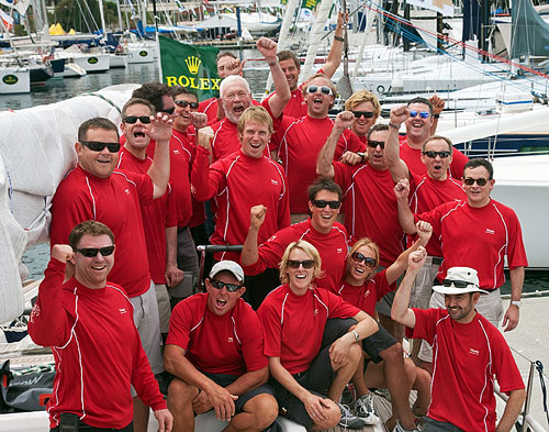 The crew of the Swan 68, Tatania of Cowes (GBR) with Sir Robin Knox-Johnston (left second row from the top), at the docks of the Cruising Yacht Club of Australia. Photo copyright Daniel Forster, Rolex.