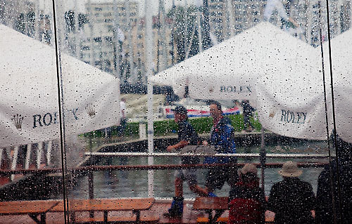 Dockside rain on the morning of the start of the Rolex Sydney Hobart 2010, at the Cruising Yacht Club of Australia. Photo copyright Rolex and Daniel Forster.