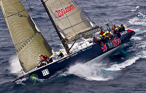 Ludde Ingvall's Simonis Voogd 90 YuuZoo, off the New South Wales south coast during the Rolex Sydney Hobart Yacht Race 2010. Photo copyright Rolex and Carlo Borlenghi.