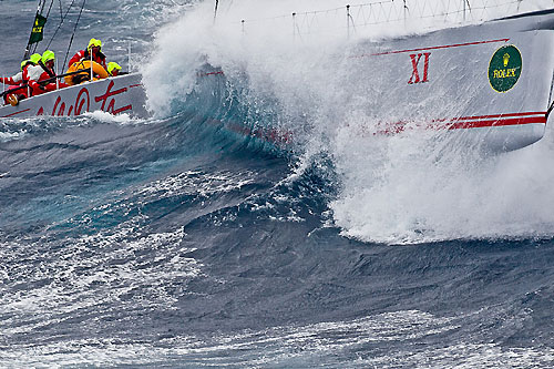 Bob Oatley's Wild Oats XI, skippered by Mark Richards, off the New South Wales south coast during the Rolex Sydney Hobart Yacht Race 2010. Photo copyright Rolex and Carlo Borlenghi.