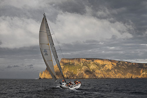 Stephen Ainsworth's Reichel Pugh 63 Loki, approaching the Organ Pipes during the Rolex Sydney Hobart 2010. Photo copyright Rolex and Daniel Forster.