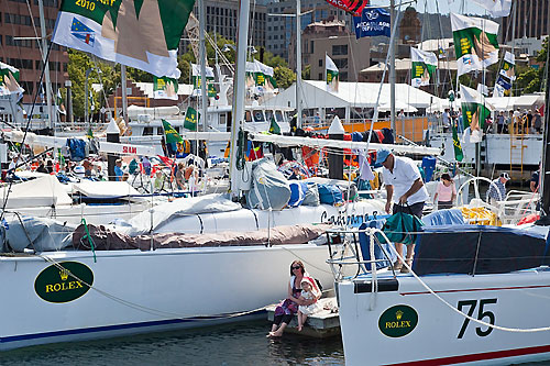 Awaiting the finishers, dockside in Hobart. Photo copyright Rolex and Daniel Forster.