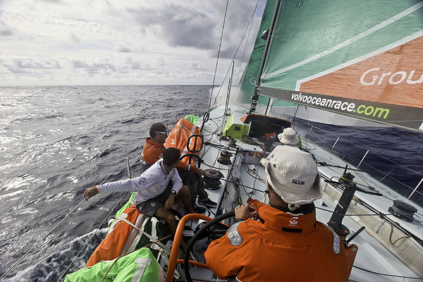 Groupama Sailing Team during leg 1 of the Volvo Ocean Race 2011-12, from Alicante, Spain to Cape Town, South Africa. Photo Yann Riou / Groupama Sailing Team / Volvo Ocean Race.