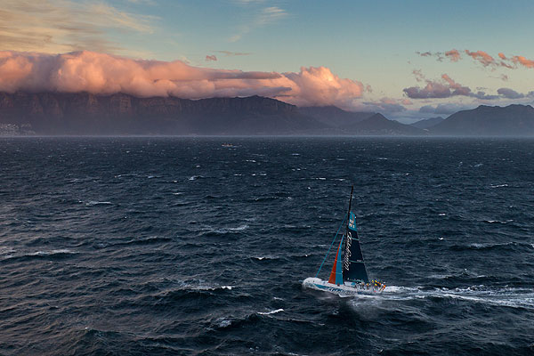 Team Telefonica, skippered by Iker Martinez from Spain approaches Cape Town on leg 1 of the Volvo Ocean Race 2011-12 from Alicante, Spain to Cape Town, South Africa. Photo Ian Roman / Volvo Ocean Race.