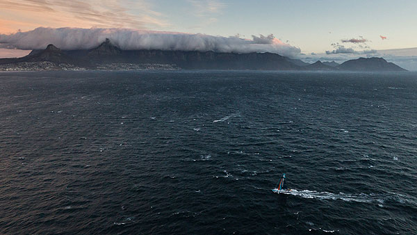 Team Telefonica, skippered by Iker Martínez from Spain approaches Cape Town on leg 1 of the Volvo Ocean Race 2011-12 from Alicante, Spain to Cape Town, South Africa. Photo Ian Roman / Volvo Ocean Race.