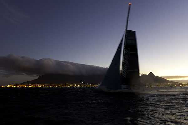 Cape Town South Africa looking good for Team Telefonica's arrival to finish first in Leg 1 of the Volvo Ocean Race 2011-12 from Alicante, Spain to Cape Town, South Africa. Photo Paul Todd / Volvo Ocean Race.