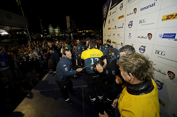 Team Telefonica, skippered by Iker Martinez from Spain are the first to finish Leg 1 of the Volvo Ocean Race 2011-12 from Alicante, Spain to Cape Town, South Africa. Photo Paul Todd / Volvo Ocean Race.