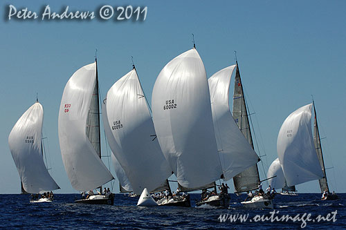 The fleet under spinnaker, during the Rolex Farr 40 World Championships 2011, Sydney Australia. Photo copyright Peter Andrews, Outimage Australia.