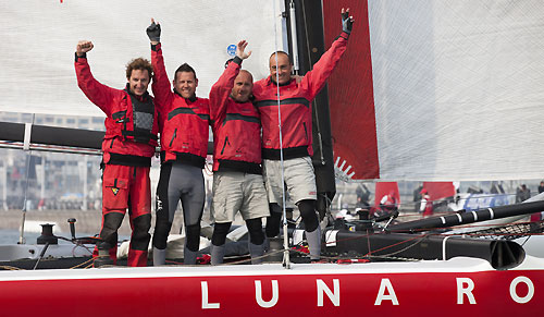 Luna Rossa crew onboard celebrating, during the Extreme Sailing Series 2011, Qingdao, China. Photo copyright Lloyd Images.