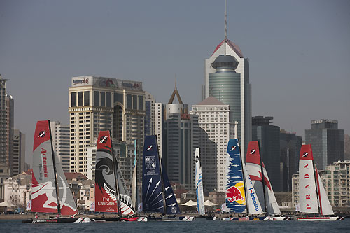 Fleet racing in Qingdao, during the Extreme Sailing Series 2011, Qingdao, China. Photo copyright Lloyd Images.