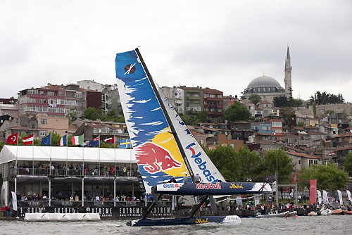 Red Bull Extreme Sailing airborn in front of the VIP tent in the race village, on day 5 of Act 3, Instanbul, during the Extreme Sailing Series 2011, Istanbul, Turkey. Photo copyright Lloyd Images.