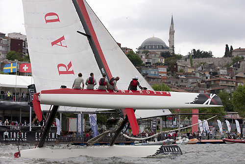Luna Rossa putting on a show for spectators, on day 5 of Act 3, Instanbul, during the Extreme Sailing Series 2011, Istanbul, Turkey. Photo copyright Lloyd Images.