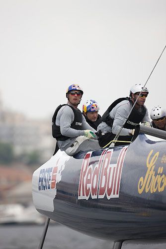 Roman Hagara, Hans Peter Steinacher, Will Howden and Craig Monk racing on Red Bull Extreme Sailing, on day 5 of Act 3, Instanbul, during the Extreme Sailing Series 2011, Istanbul, Turkey. Photo copyright Lloyd Images.