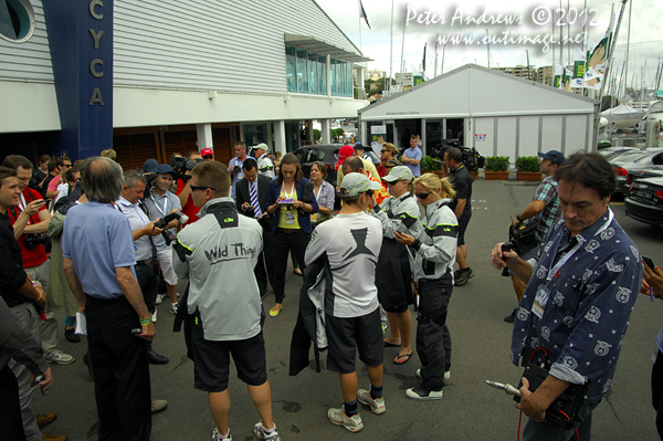A media scrum dockside at the Cruising Yacht Club of Australia ahead of the start of the 2012 Sydney Hobart Yacht Race. Photo copyright Peter Andrews, Outimage Australia.