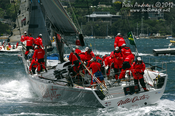 Bob Oatley's Wild Oats XI on Sydney Harbour ahead of the start of the 2012 Sydney Hobart Yacht Race. Photo copyright Peter Andrews, Outimage Australia.
