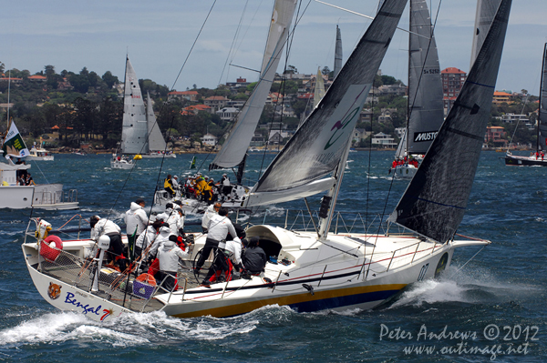 Yoshihiko Murase's Humphreys 54, KLC Bengal 7 from Japan, on Sydney Harbour ahead of the start of the 2012 Sydney Hobart Yacht Race. Photo copyright Peter Andrews, Outimage Australia.
