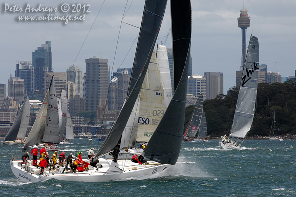 Stephen Ainsworth's Reichel Pugh 63 Loki, on Sydney Harbour ahead of the start of the 2012 Sydney Hobart Yacht Race. Photo copyright Peter Andrews, Outimage Australia.