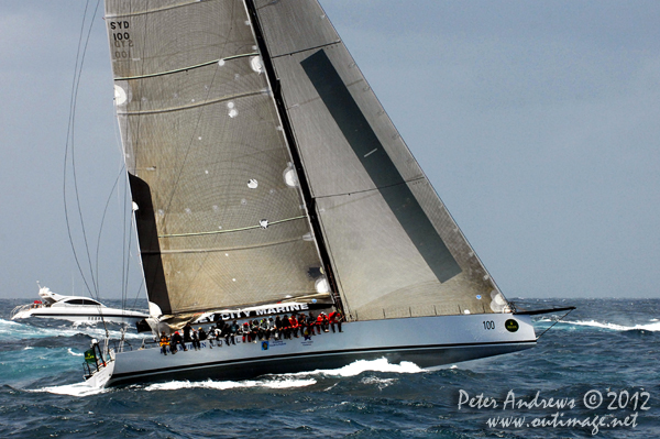 Syd Fischer's Ragamuffin Loyal outside the heads of Sydney Harbour after the start of the 2012 Sydney Hobart Yacht Race. Photo copyright Peter Andrews, Outimage Australia.