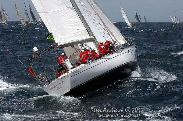 Peter Lewis' Bluewater 450 Charlie's Dream, outside the heads of Sydney Harbour after the start of the 2012 Sydney Hobart Yacht Race. Photo copyright Peter Andrews, Outimage Australia.