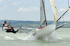 European champion, Liberty Sailing Team from Hungary, in action. Photo copyright Australian 18 Footers League.