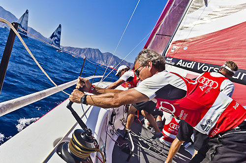 On board Audi Sailing Team powered by ALL4ONE, during the Audi MedCup Circuit 2011, Cartagena, Spain. Photo copyright Stefano Gattini for Studio Borlenghi.