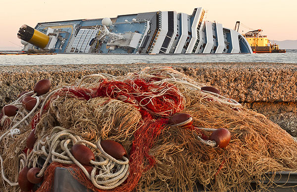 The Costa Concordia, Giglio Island, January 25, 2012. Photo copyright Carlo Borlenghi.