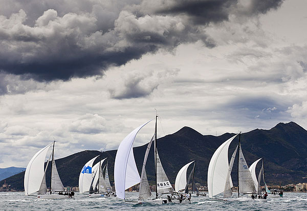 Loano, 13/04/12. Fleet, during the Audi Sailing Series Melges 32 Day 1. Photo copyright Stefano Gattini for Studio Borlenghi and BPSE.