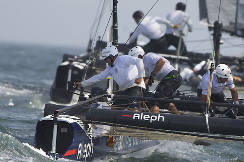 Bertrand Pacé's Aleph at the America's Cup World Series, Cascais, Portugal, August 6-14, 2011. Photo copyright Morris Adant.