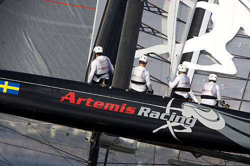 Terry Hutchinson's Artemis Racing at the America's Cup World Series, Cascais, Portugal, August 6-14, 2011. Photo copyright Morris Adant.