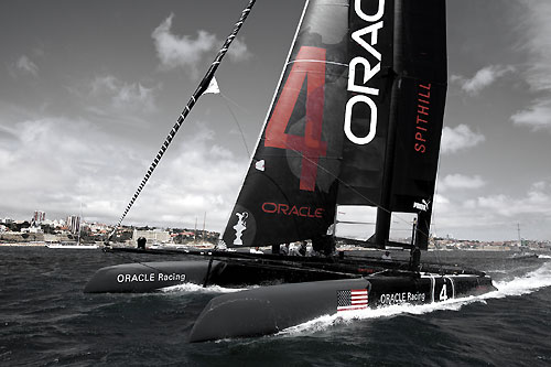 James Spithill's ORACLE Racing at the America's Cup World Series, Cascais, Portugal, August 6-14, 2011. Photo copyright Morris Adant.