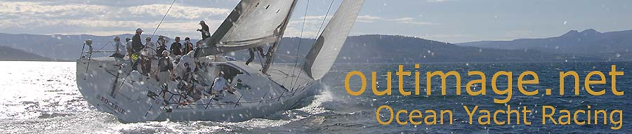 The outimage dot net ocean yacht racing banner is an image of Roger Sturgeon's Transpac 65 Rosbud from the United States, working up Hobart's Derwent River into the late afternoon to take out an overall win of the 2007 Rolex Sydney Hobart Yacht Race. The photograph was taken by Peter Andrews.